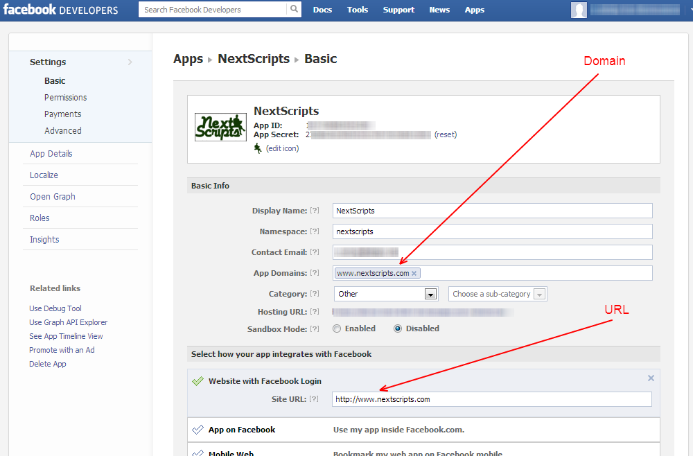 Wordpress Plugin: Facebook - Domain and URL