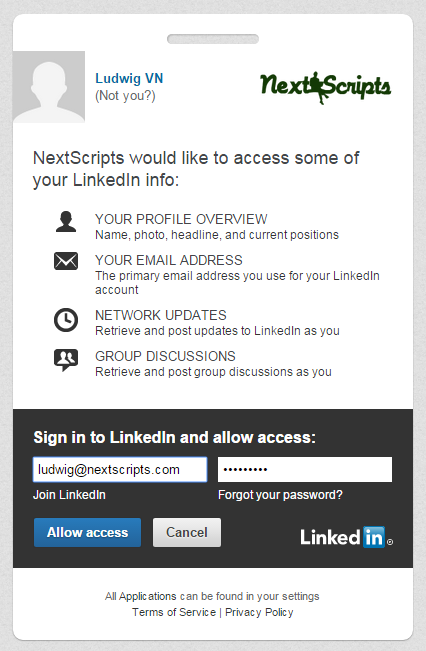 Authorize your LinkedIn account
