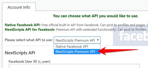 NextScripts API for Facebook Configuration - NextScripts