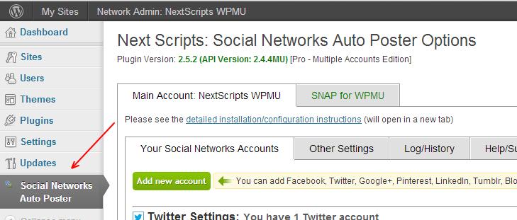 WPMU SNAP Setup Each Site