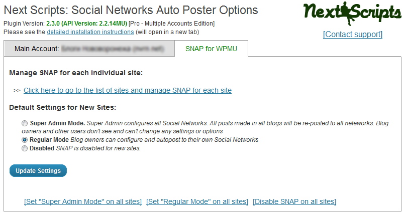 WPMU SNAP Setup Each Site