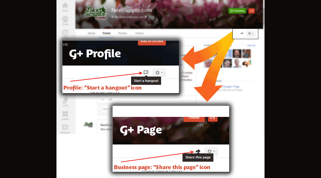 Google+ New Interface – How to distinguish profile from business page