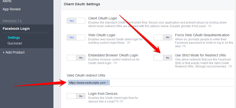 Wordpress add link to facebook error validating access token