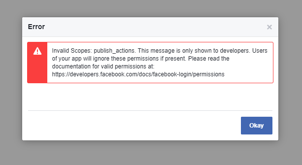 Facebook Error: Invalid Scopes: publish_actions.
